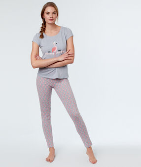 Pantalon imprimé flamants roses gris.