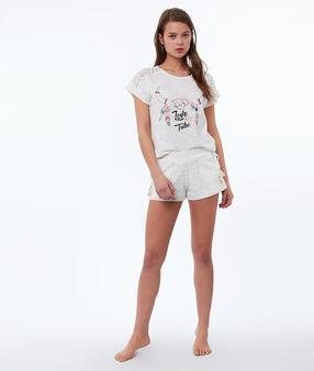 T-shirt imprimé ethnique blanc.