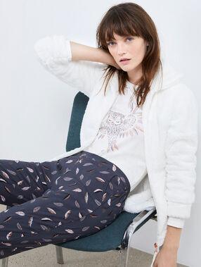 Pyjama trois pièces hibou ecru.