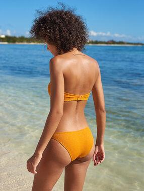 Bas de bikini simple irisé ocre.