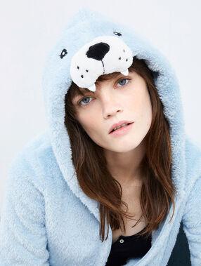 Veste à capuche en fausse fourrure bleu.