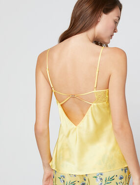 Top satin dentelle jaune.