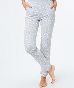 Pantalon imprimé mouton gris.