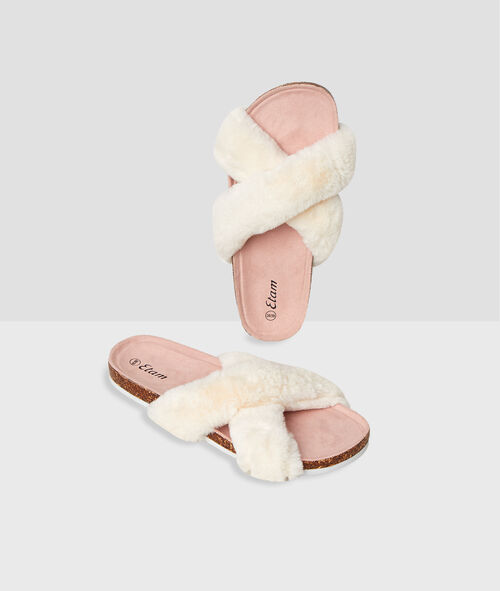 Chaussons ouverts fausse fourrure