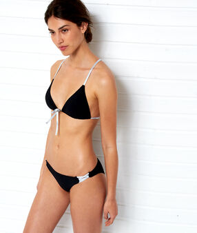 Haut de maillot de bain triangle, liens argentés noir.