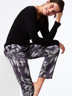 Pantalon large imprimé floral gris.
