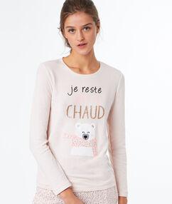 T-shirt imprimé rose.