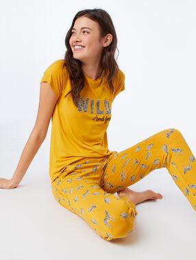 Pantalon de pyjama imprimé zèbres ocre.