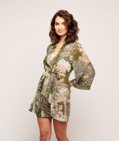Kimono imprimé feuillage;${refinementColor}