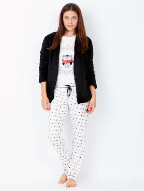 Pyjama trois pièces chouette , veste doudou noir.