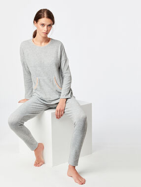Pantalon leggings chiné gris.