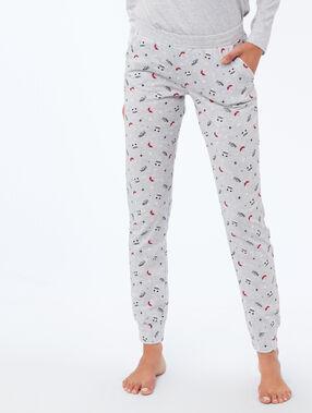 Pantalon imprimé panda gris.