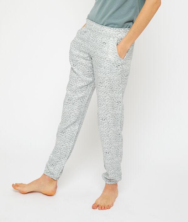 Pantalon imprimé panda;${refinementColor}