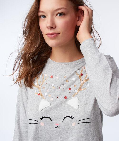 T-shirt avec oreilles en fausse fourrure