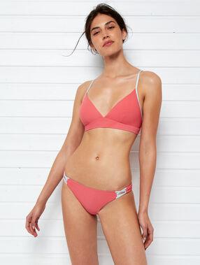 Bas de bikini simple, détails argentés corail.