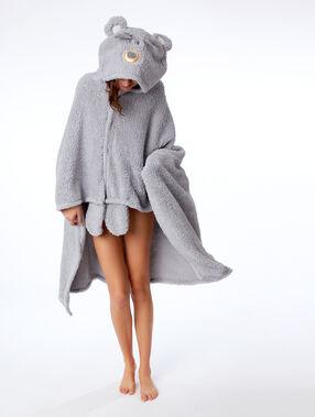 Poncho à capuche ours gris.