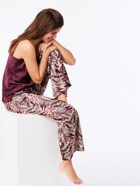 Pantalon large imprimé floral bordeaux grenat.