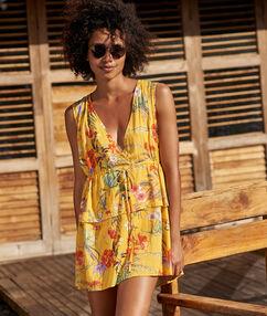 Robe de plage col v jaune.