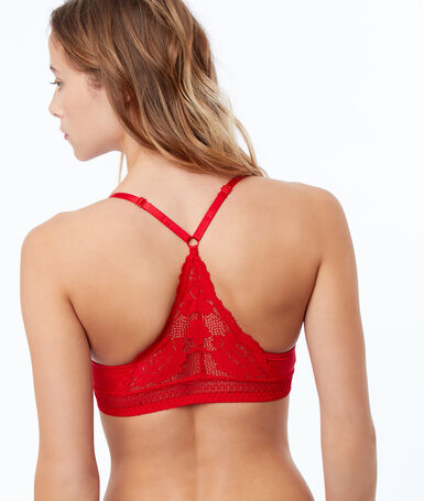 Soutien-gorge n°6 - triangle naturel en dentelle rouge.