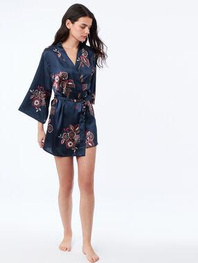 Déshabillé kimono fleuri bleu.