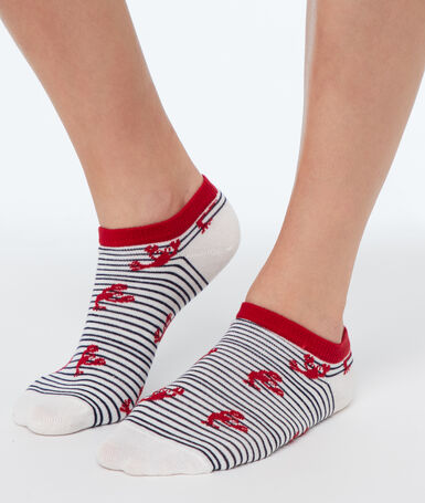 Socquettes fantaisies ecru.