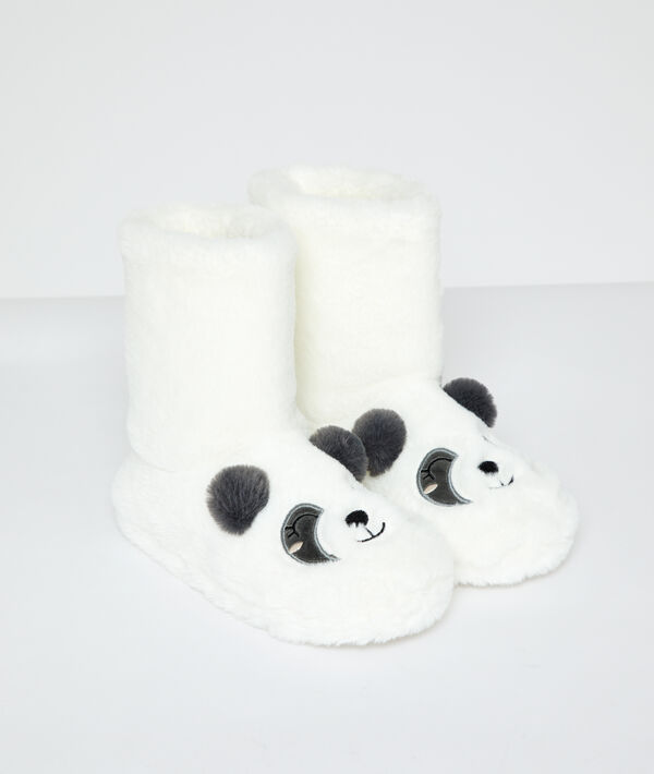 Chaussons bottines panda fourrées;${refinementColor}