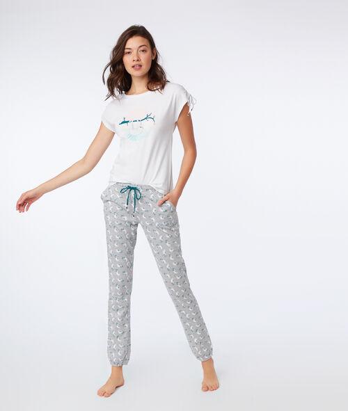 Pantalon imprimé paresseux en coton bio