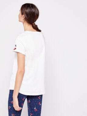 T-shirt 100% coton imprimé cerise ecru.