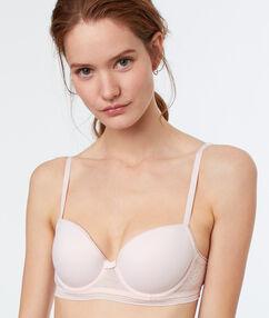 Soutien-gorge ampliforme bi matière blush.