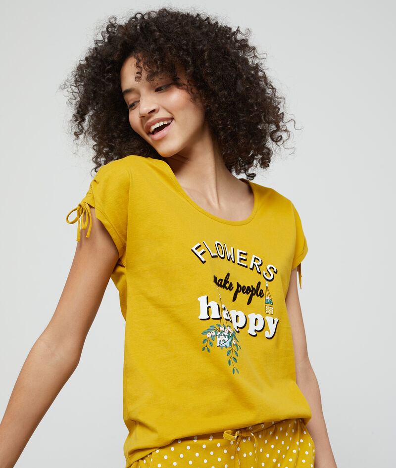 "T-SHIRT ""FLOWERS MAKE PEOPLE HAPPY"" EN COTON BIO"