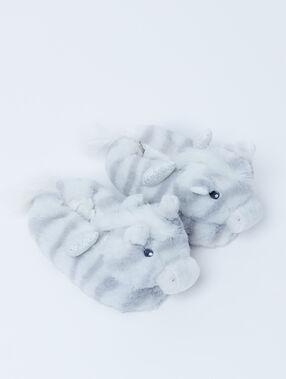 Chaussons 3d zèbre gris.