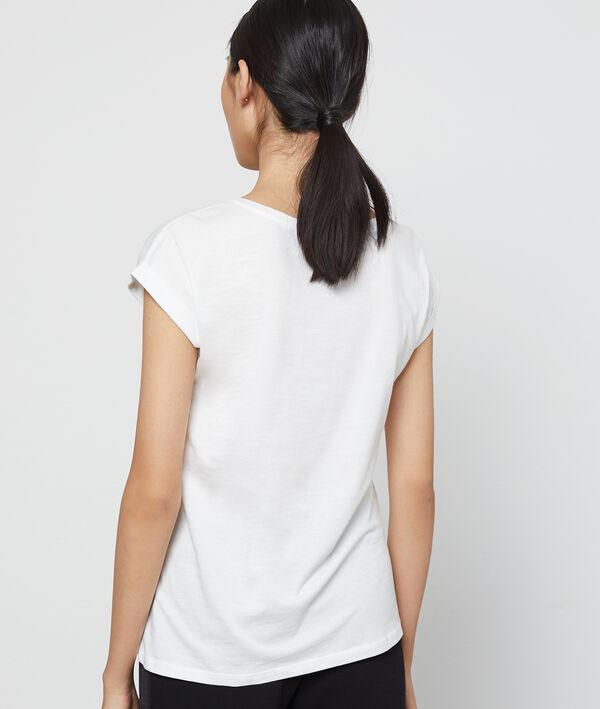 T-shirt imprimé à broderies 100% coton