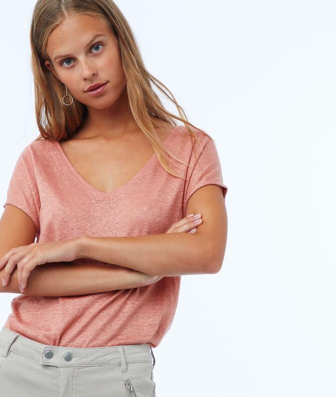 T-shirt en lin col v rose.