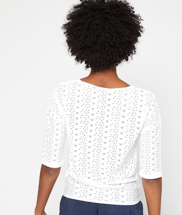 T-shirt noué en dentelle guipure