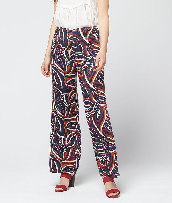 Pantalon large à imprimé floral