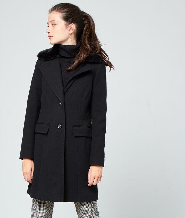 Manteau masculin col fausse fourrure - LEON - 34 - Noir - Femme - Etam