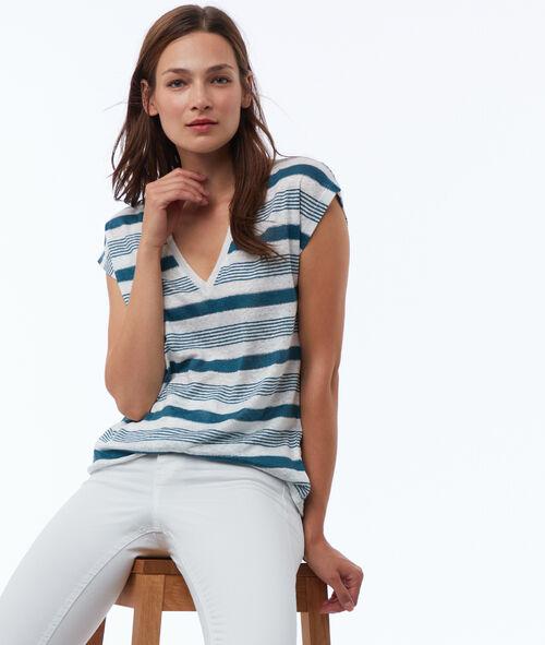 T-shirt à rayures en lin mélangé