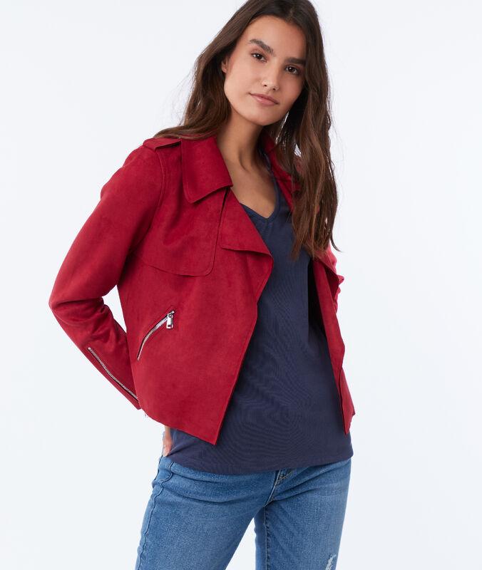 Veste à col châle effet daim rouge carmin.