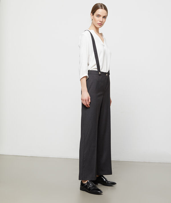 Pantalon large à bretelles