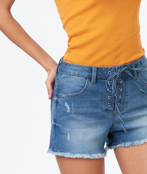 Short en jean effet usé