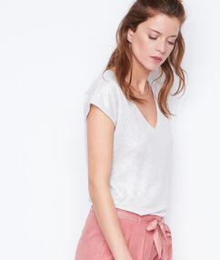 T-shirt col v effet lurex en lin blanc.