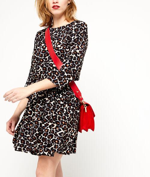 Robe smockée imprimé léopard
