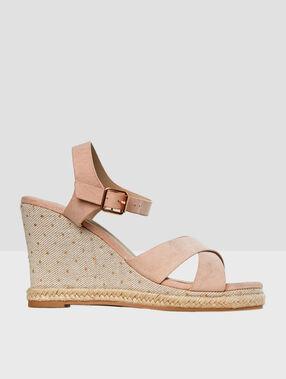 Sandales compensées nude.