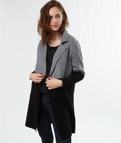 Manteau maille bicolore bicolore.