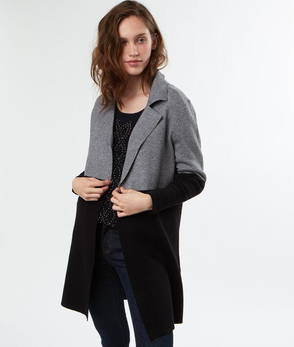 Manteau maille bicolore