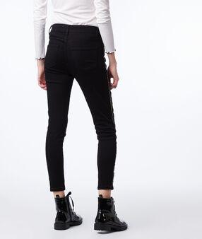 Jean skinny à bandes contrastrées noir.