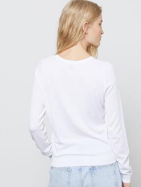 Cardigan en maille fine plumetis blanc.