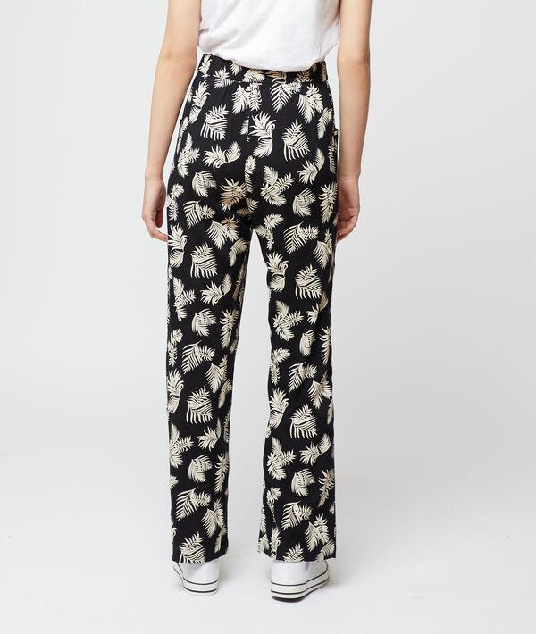 Pantalon large imprimé feuillage