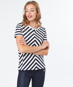 T-shirt rayé en coton ecru.