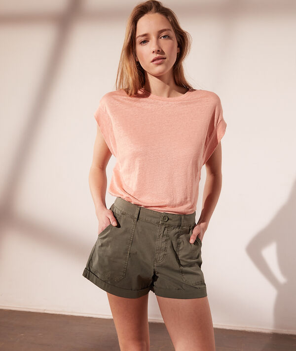 T-shirt col rond en lin
